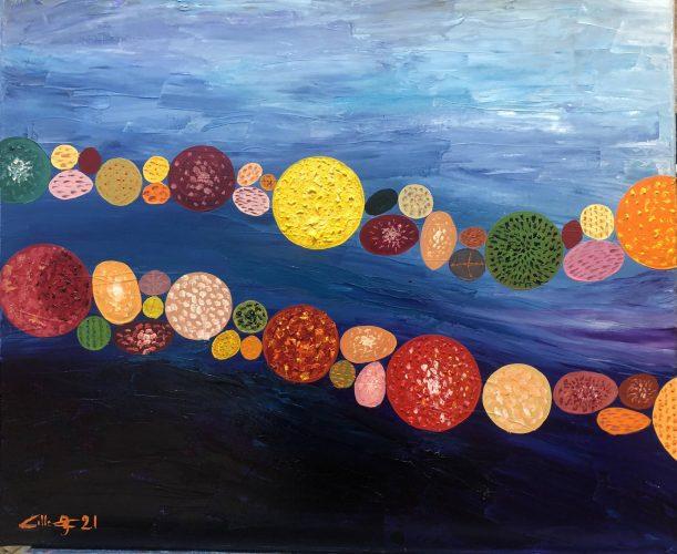 Huile sur toile en lin 73x60 cm @Crann Piorr'Art 2021