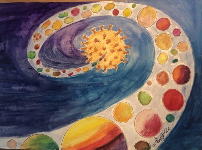 Crayons Aquarelle sur papier 40x28 cm @Crann Piorr'Art 2020